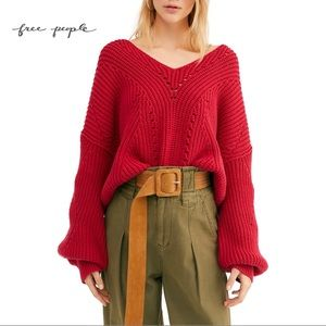 Free People Fuego Rose All Day Long V Neck Sweater